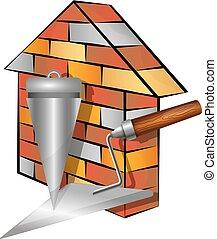 maison, brique, outils