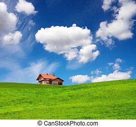 maison, brique, printemps, nouveau