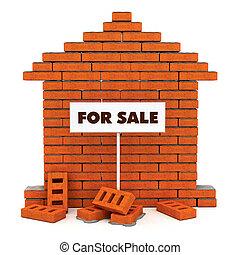 maison, brique, vente