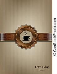 maison, brun, café, conception, menu