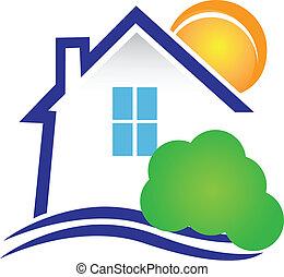maison, buisson, soleil, logo