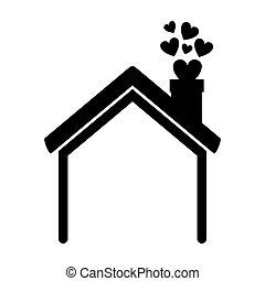 maison, cœurs, silhouette, cheminée, noir