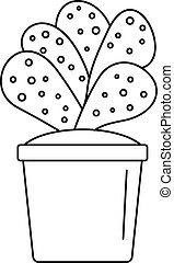maison, cactus, pot, icône, contour, style