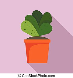 maison, cactus, pot, icône, plat, style