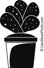 maison, cactus, pot, icône, simple, style