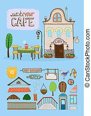maison, café, illustration
