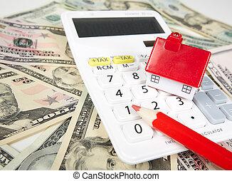 maison, calculator., argent