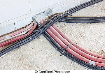 maison, canaux transmission, câbles, nouveau