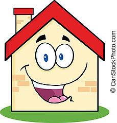 maison, caractère, dessin animé, heureux