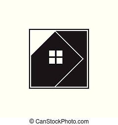 maison, carrée, vecteur, géométrique, logo