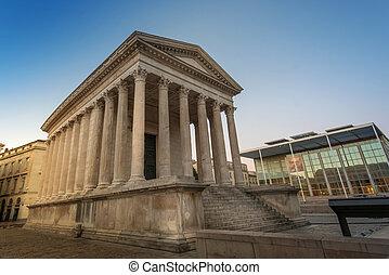 Ancient Roman construction, Maison Carree in Nimes, France