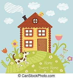 maison, carte, doux