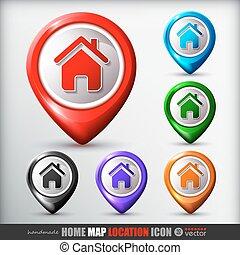 maison, carte, emplacement, icon.