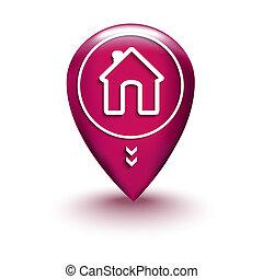 maison, carte, emplacement