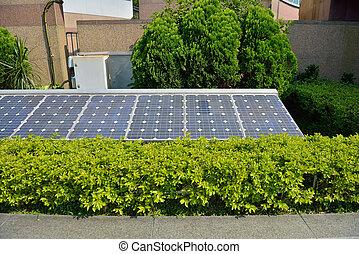 maison, cellules, solaire, installed