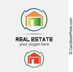 maison, cercle, vecteur, logo