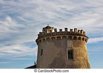 maison, château, à, coucher soleil, sur, a, ciel, à, nuages