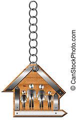 maison, -, chaîne, famille, signe