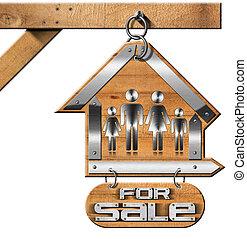 maison, chaîne, vente, famille, signe