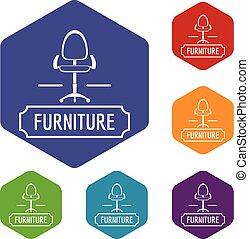 maison, chaise, vecteur, hexahedron, icônes