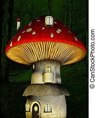 maison, champignon