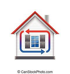 maison, chauffage, isolé, refroidissement, vecteur, blanc