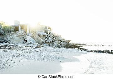maison, chelem, plage, abandonnés, mexique