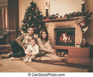 maison, cheminée, noël, famille, décoré, intérieur