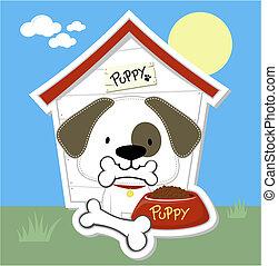 maison chien, chiot, dessin animé, mignon