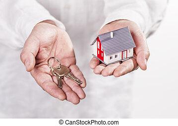 maison, clé, mains