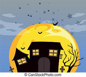 maison, clair, entiers, hanté, lune