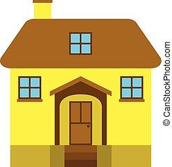 maison, clair, isolé, jaune