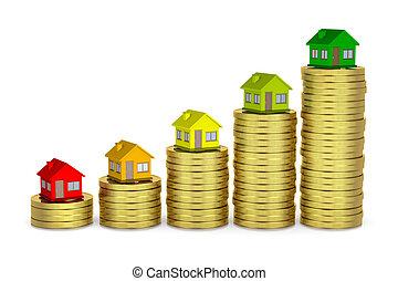 maison, classe, sauver, énergique, argent