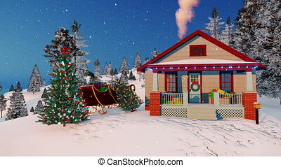 maison, claus, 4k, santa, décoré, noël