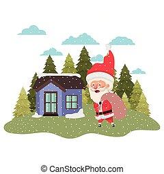 maison, claus, neige, arbres, pin, santa, tomber