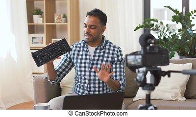 maison, clavier, videoblogging, mâle, blogger