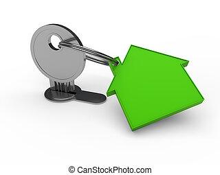 maison, clef verte, 3d