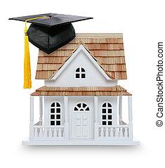 maison, collège, remise de diplomes, propriété