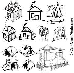 maison, collection, appartements