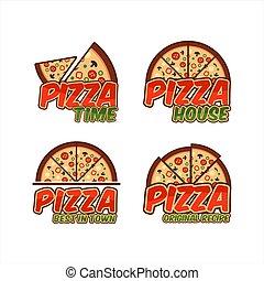 maison, collection, logo, pizza, temps