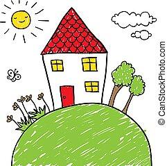 maison, colline, griffonnage