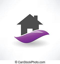 maison, colline, icône