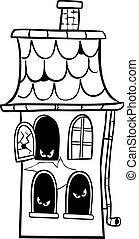maison, coloration, hanté, dessin animé