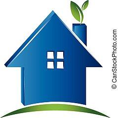 maison, concept, écologie, logo