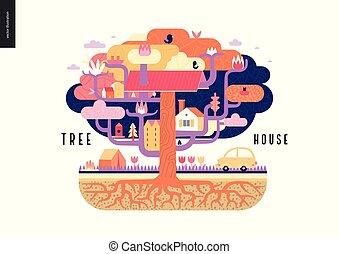 maison, concept, arbre