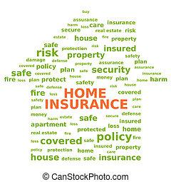 maison, concept., assurance