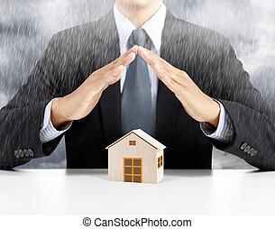 maison, concept, assurance, pluie, sous