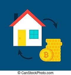 maison, concept, bitcoin
