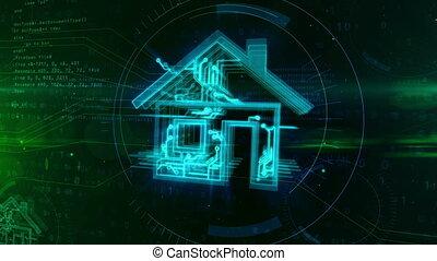 maison, concept, intelligent, animation, iot
