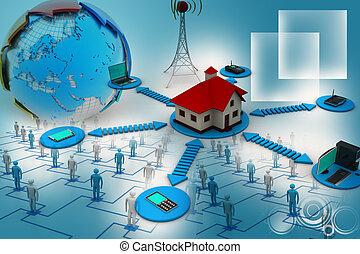 maison, concept, intelligent